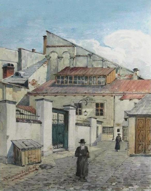 A scene outside the Golden Rose Synagogue as painted by Alfred Kamienobrodzki