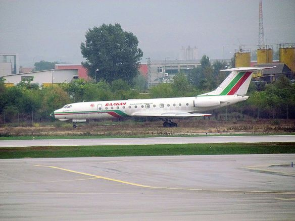 A Balkan Bulgarian Airlines Tupolev 134 on display at the Sofia airport