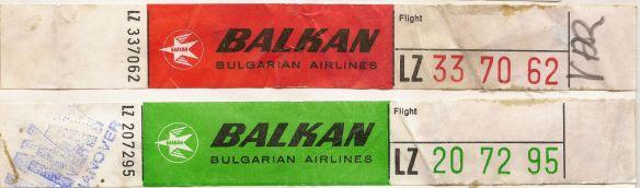 Bag tags - from Balkan Bulgarian Airlines circa 1978