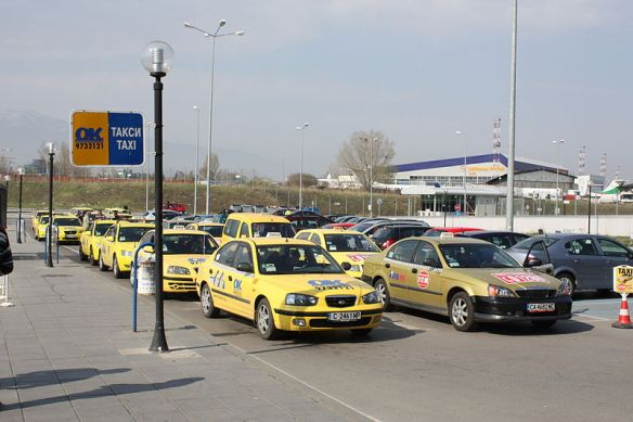 Lying in wait - taxis at the Sofia airport