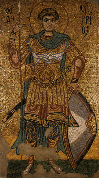 St. Demetrius of Thessaloniki depicted in a 12th century mosaic