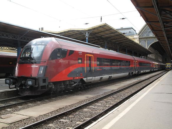 OBB Railjet train at Keleti (Eastern) Station in Budapest