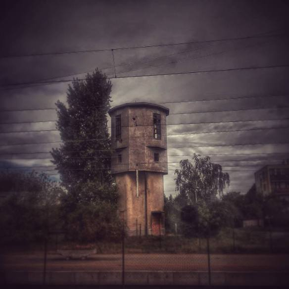 Old watchtower from the Iron Curtain at Hegyeshalom on the Austria-Hungary border