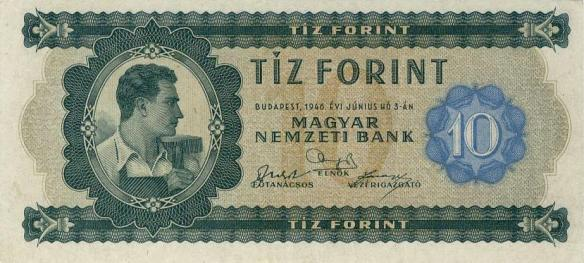 Symbol of a worker's state - one of the first Hungarian forints issued