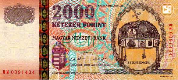 Symbols matter - the Holy Crown of Hungary on a commemorative 2000 Hungarian forint banknote