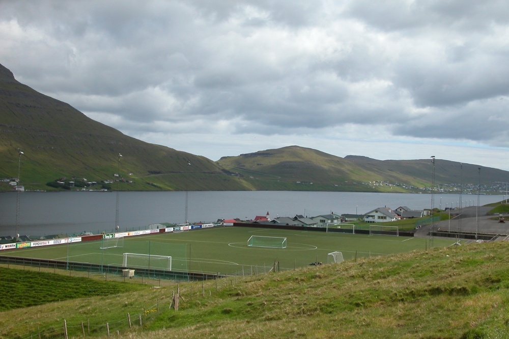 A football pitch in the Faroe Islands