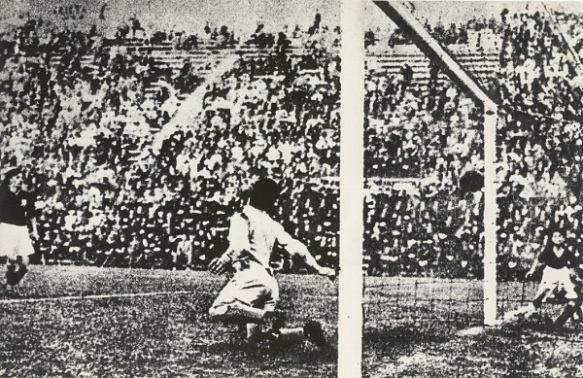 Angelo Schiavio scores the winning goal of the 1934 World Cup
