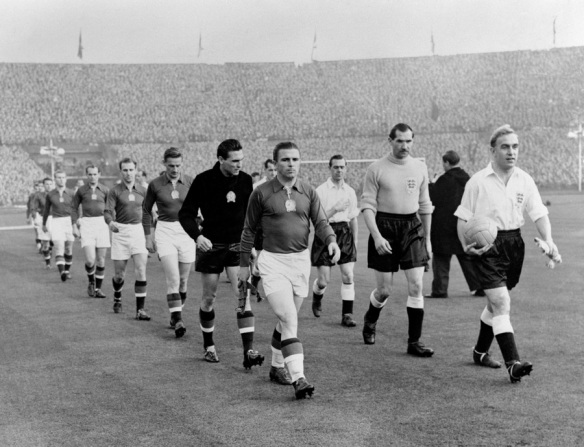 Hungary and England take the field for the Match of the Century at Wembley in 1953