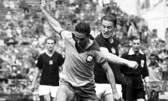 Slugging it out - Hungary & Brazil fight for a place in the 1954 World Cup quarterfinals