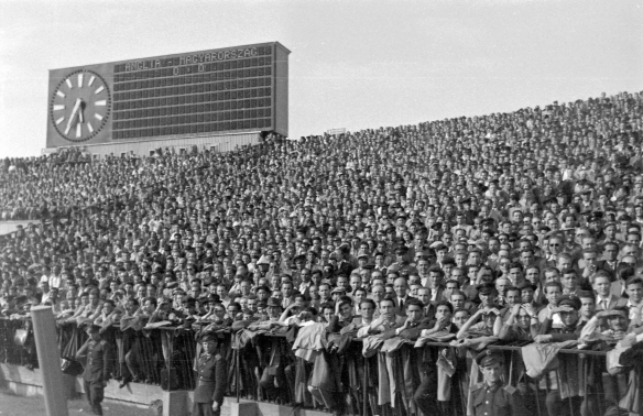 The crowd at the Nepstadion awaits the start of the Hungary-England match in Budapest on May 23, 1954t