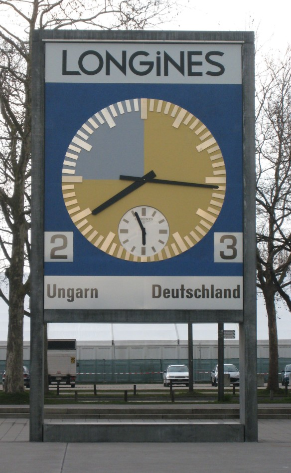 A moment that will last forever - the restored match clock outside the Stade de Suisse