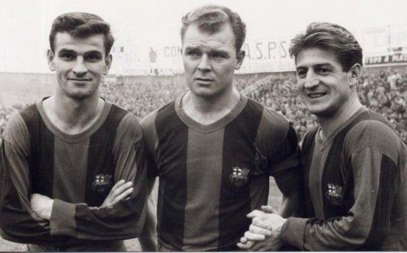 Exiles abroad - Sandor Kocsis, Laszlo Kubala & Zoltan Czibor with FC Barcelona