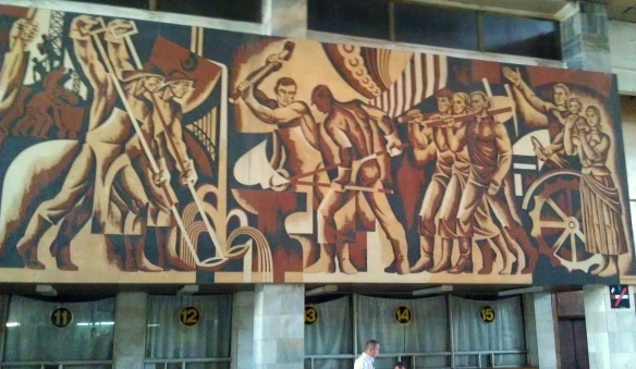 Soviet era mural above ticket windows inside Chop Railway Station