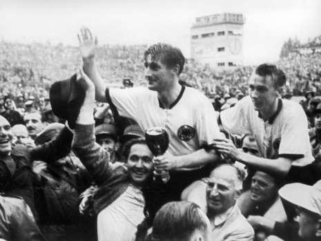 West German captain Fritz Walter and friends celebrate the Miracle of Bern