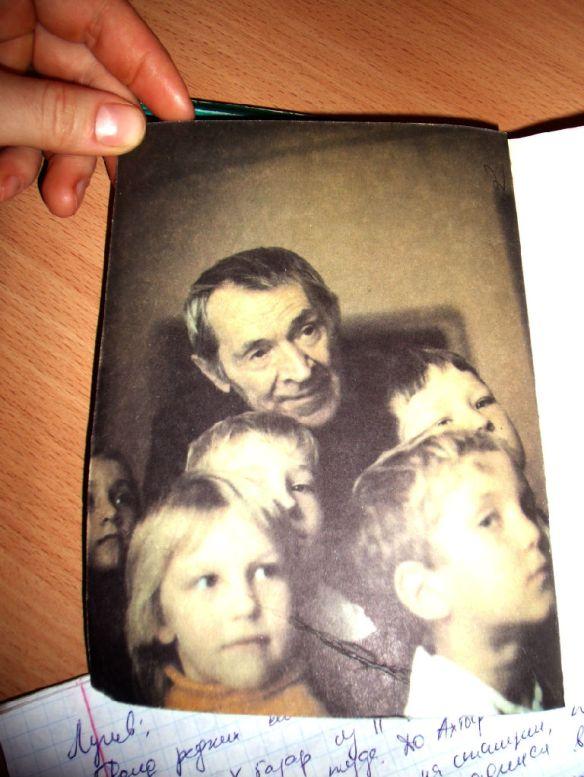 Afanisay Lunev with schoolchildren