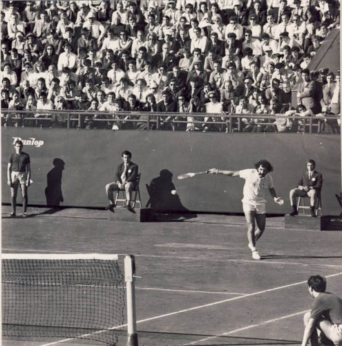 Ion Tiriac in action at the 1972 Davis Cup Final