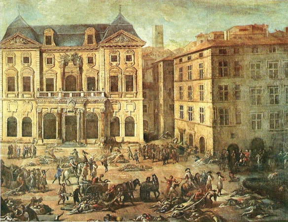 Vue de l'Hotel de Ville pendant la peste de 1720 - View of the Town Hall during the plague of 1720