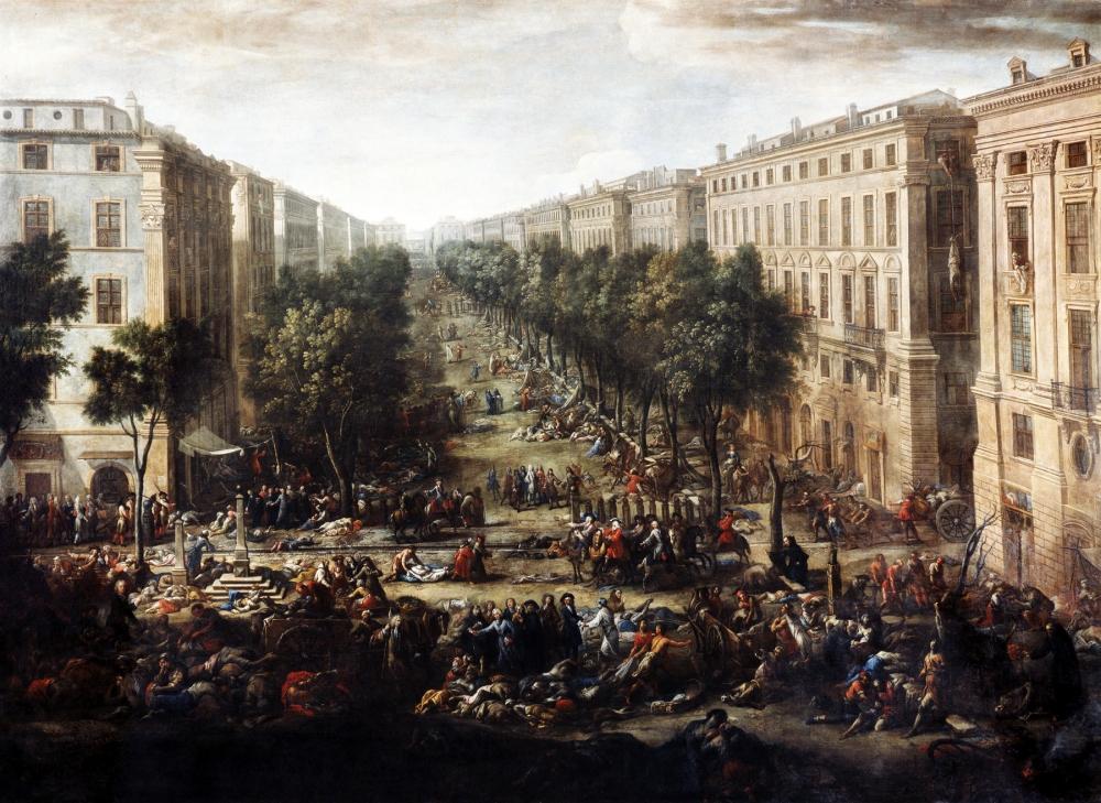 Vue du cours pendant la peste de 1720 (View of the course during the plague)