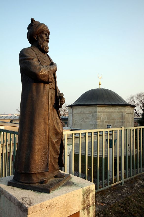 Statue of Gul Baba outside his tomb in Buda