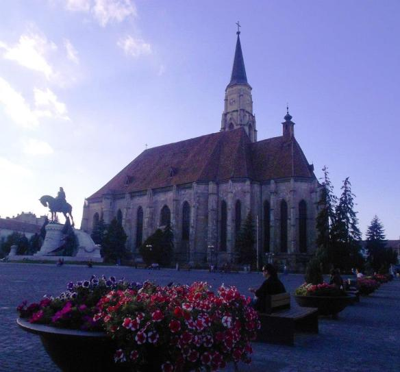 St. Michael's Church In Cluj with the Matthias Corvinus Monument