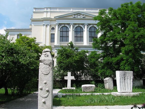 Medieval tombstones around National Museum of Bosnia and Herzegovina