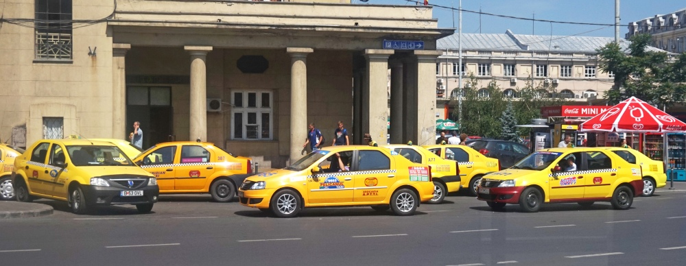 Ready and waiting - taxis in Bucharest