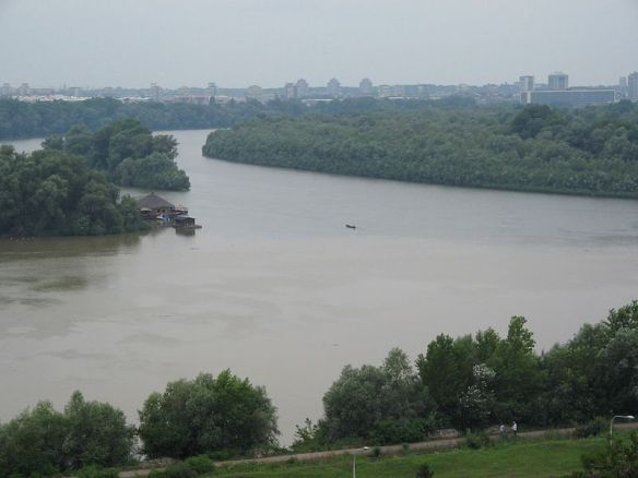Confluence of the Sava and Danube Rivers as seen from Kalmegdan Park during 2014 floods