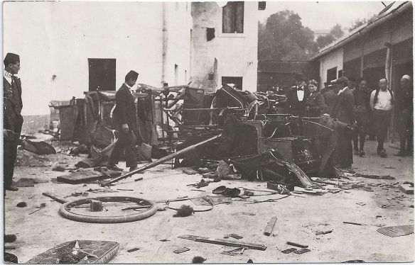 Destruction outside the Hotel Evropa - the day after the assassination of Archduke Franz Ferdinand