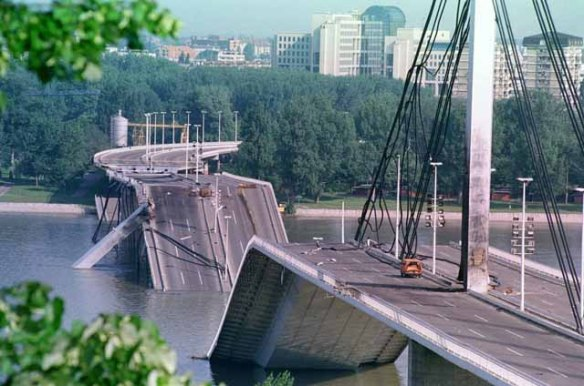 Liberty Bridge in Novi Sad destroyed during NATO air strikes in 1999