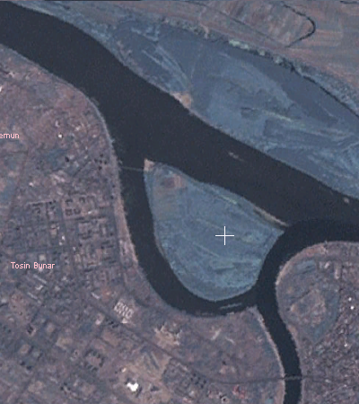 Satellite view of the Sava and Danube confluence with Great War Island pinpointed