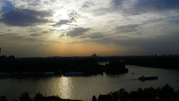 The Sava and Danube confluence at dusk