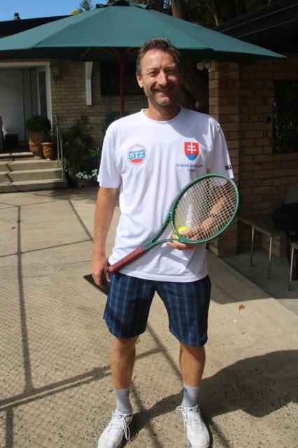 Miloslav Mecir with his wooden racket in 2016
