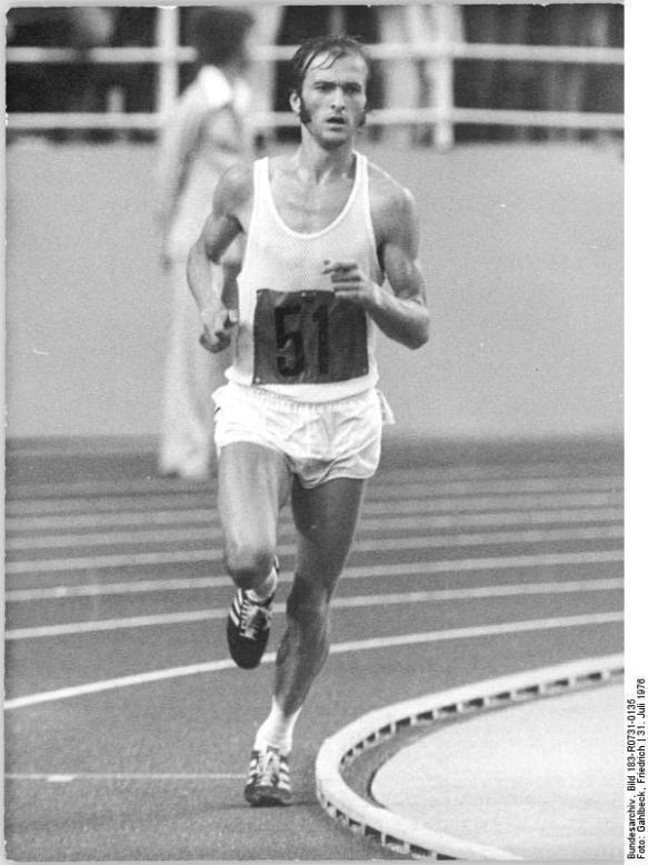 Running to victory - Waldemar Cierpinski making the final lap at Montreal at the 1976 Olympics
