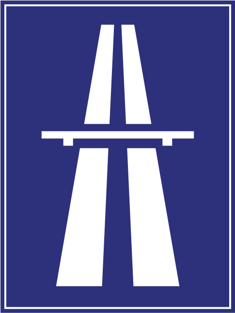 The fast lane -sign for a Hungarian motorway (autópálya)