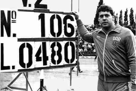 Uwe Hohn - threw the javelin a world record 104.80m in 1984