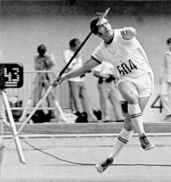 World record breaker - Miklos Nemeth making his gold medal winning javelin throw at the 1976 Montreal Olympics