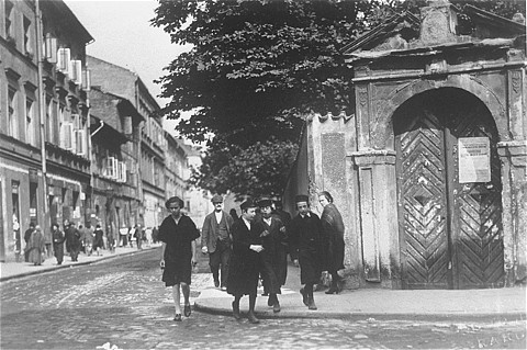 Jewish youth walking in Kazimierz during the 1930s