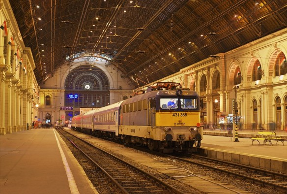 Train to Transylvania - leaving Keleti Station at night