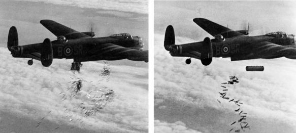 British Lancaster bomber - dropping incendiary bombs on Germany during World War 2