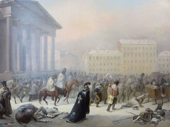 French Army - in the Town Hall Square of Vilnius during the retreat