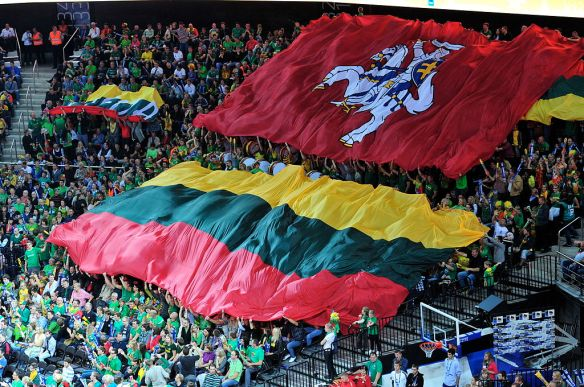 Nationalist sentiment - Lithuanian and historical Vytis flags displayed by fans during EuroBasket