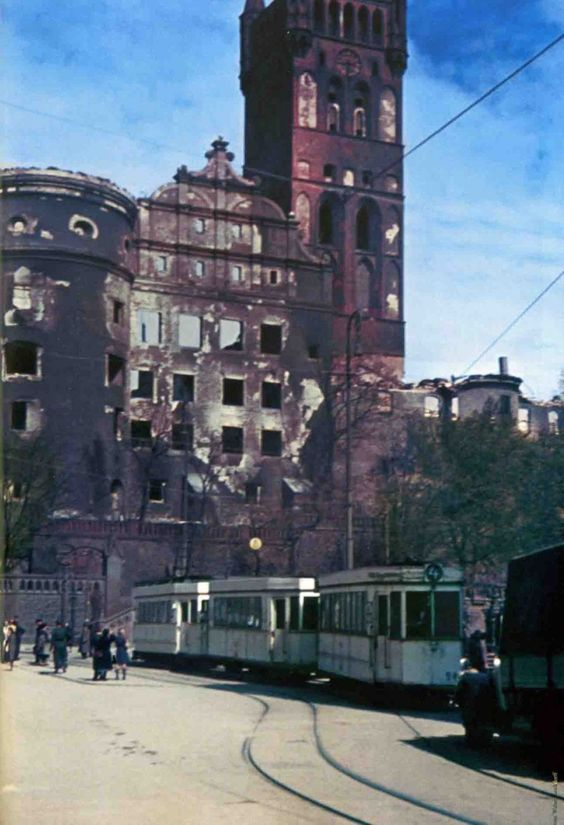 Streetcar in front of badly damaged Konigsberg Castle in 1944
