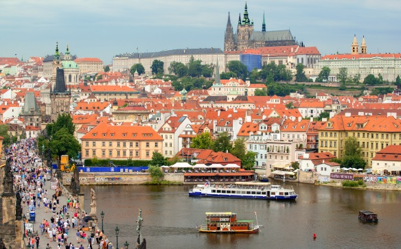 Vltava River & Charles Bridge looking towards Castle Hill in Prague