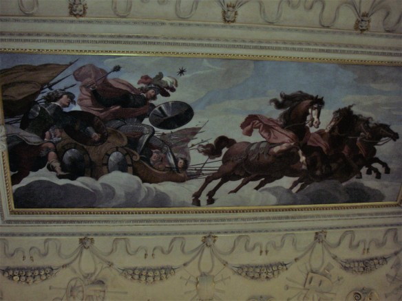 Fresco depicting Wallenstein as Mars, the God of war - Riding in a chariot pulled by four horses