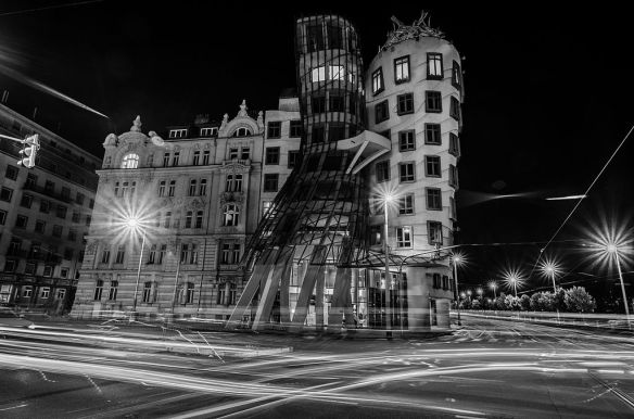 The Dancing House - in black & white