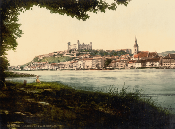 View of Pressburg - postcard from 1900