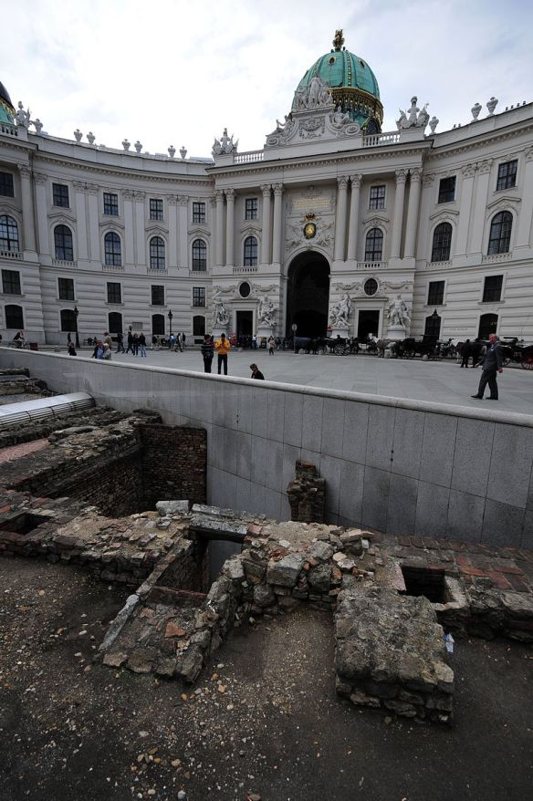 Roman ruins in front of Hofburg entrance - Michaelerplatz in Vienna