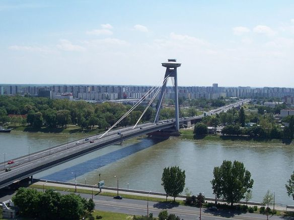 Strange new world - SNP Most Bridge looking toward Petrzalka