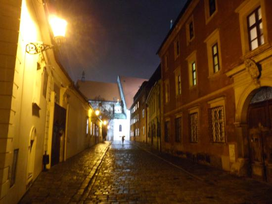 This is history - Kapitulska Street at night in Bratislava