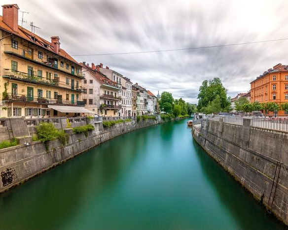 The Ljubljanica River flowing through Ljubljana